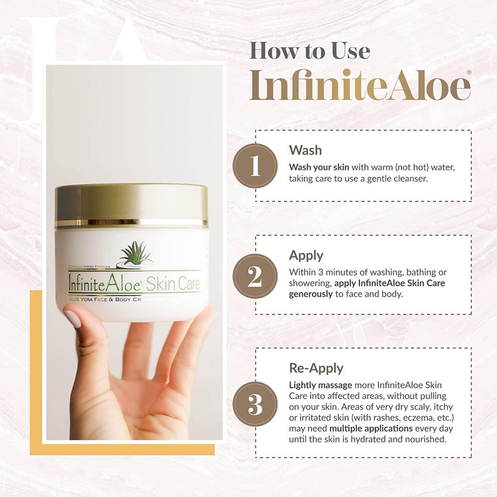 how to use infinitealoe skin care